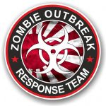 Zombie Outbreak Response Team Design With JDM R/Sun Flag Motif External Vinyl Car Sticker 100x100mm